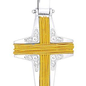 Σταυρός 14Κ από Χρυσό και Λευκόχρυσο SVK485