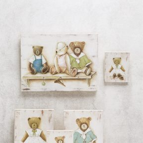 Μπομπονιέρα Βάπτισης Καδράκι με αρκουδάκια G14-102037-6