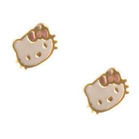 Παιδικά σκουλαρίκια hello kitty από επιχρυσωμένο ασήμι