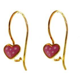 Παιδικά σκουλαρίκια καρδούλες από επιχρυσωμένο ασήμι