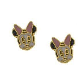 Παιδικά σκουλαρίκια Minnie από επιχρυσωμένο ασήμι με σμάλτο