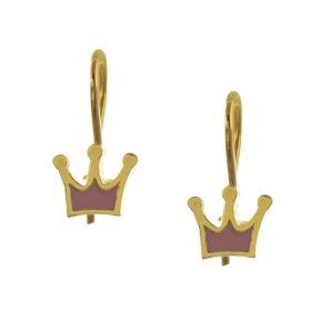 Παιδικά σκουλαρίκια από κορώνες επιχρυσωμένο ασήμι με σμάλτο