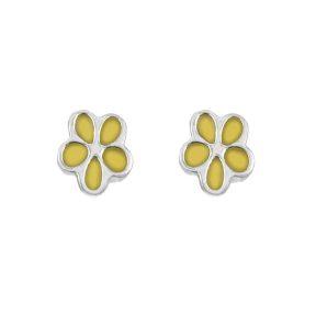 Παιδικά σκουλαρίκια λουλουδάκια από ασήμι και σμάλτο