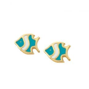Παιδικά σκουλαρίκια ψαράκια από επιχρυσωμένο ασήμι και σμάλτο