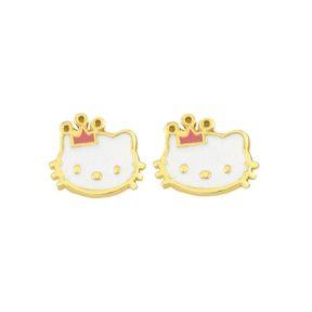 Παιδικά σκουλαρίκια kitty από επιχρυσωμένο ασήμι και σμάλτο