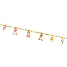 Παιδικό βραχιόλι με σμάλτο από επιχρυσωμένο ασήμι