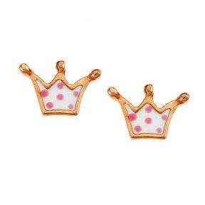 Παιδικό ζευγάρι σκουλαρίκια από ρόζ επιχρυσωμένο ασήμι με σμάλτο