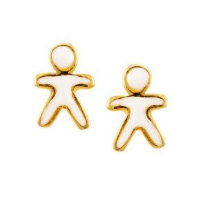 Παιδικό ζευγάρι σκουλαρίκια από επιχρυσωμένο ασήμι με σμάλτο