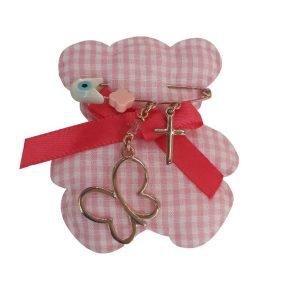 Παιδική παραμάνα φυλαχτό από ρόζ επιχρυσωμένο ασήμι με αρκουδάκι μαξιλαράκι