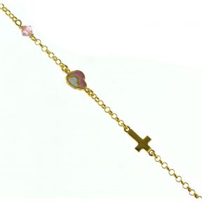 Παιδικό βραχιόλι από επιχρυσωμένο ασήμι με καρδιά και σταυρό