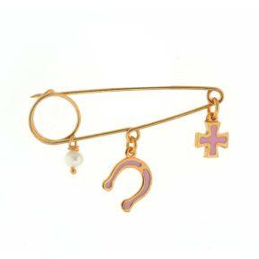 Παιδική παραμάνα από ρόζ επιχρυσωμένο ασήμι πέταλο με σταυρό