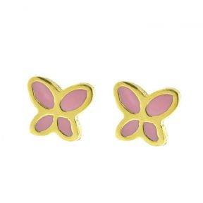 Παιδικά σκουλαρίκια από επιχρυσωμένο ασήμι πεταλούδες