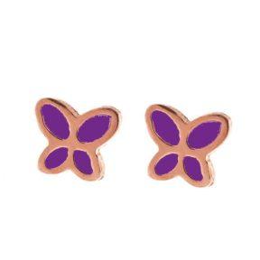Παιδικά σκουλαρίκια από ρόζ επιχρυσωμένο ασήμι πεταλούδες