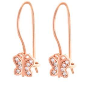 Σκουλαρίκια παιδικά από ρόζ επιχρυσωμένο ασήμι πεταλούδες