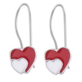 Σκουλαρίκια παιδικά από ασήμι καρδιές