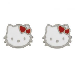 Παιδικά σκουλαρίκια από ασήμι hello kitty