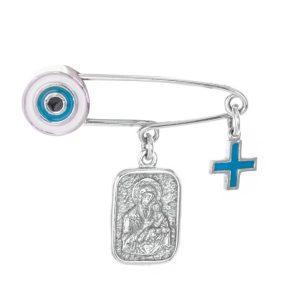 Παιδική παραμάνα φυλαχτό από ασήμι με την Παναγία και μάτι με σμάλτο και σταυρό