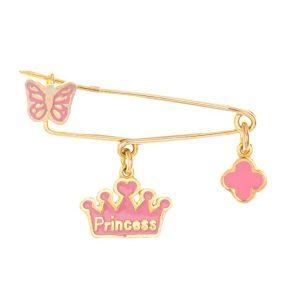 Παιδική μοντέρνα παραμάνα από επιχρυσωμένο ασήμι με princess κορώνα πεταλούδα και σταυρό