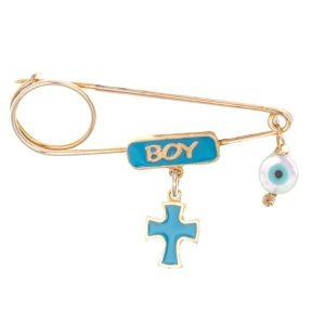 Παιδική παραμάνα από επιχρυσωμένο ασήμι με boy σταυρό και ματάκι