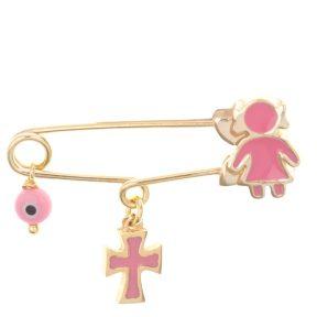 Παιδική παραμάνα από επιχρυσωμένο ασήμι με κοριτσάκι σταυρό ματάκι