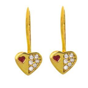 Παιδικό ζευγάρι σκουλαρίκια κρεμαστό από επιχρυσωμένο ασήμι 925 με καρδιές και πέτρες ζιργκόν