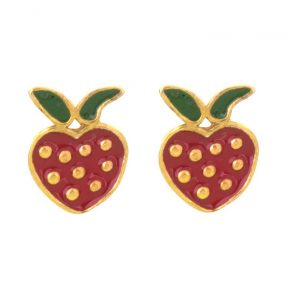 Παιδικό ζευγάρι σκουλαρίκια καρφωτό από επιχρυσωμένο ασήμι 925 με φραουλίτσες