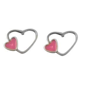 Παιδικό ζευγάρι σκουλαρίκια καρφωτό από ασήμι 925 με διάτριτη καρδιά