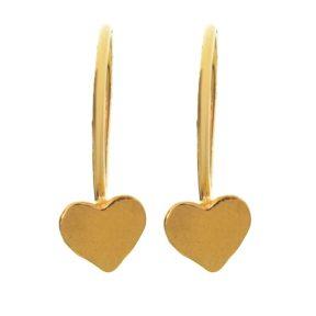 Παιδικό ζευγάρι σκουλαρίκια κρεμαστό από επιχρυσωμένο ασήμι 925 με καρδιές