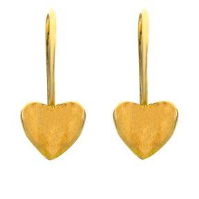 Παιδικό ζευγάρι σκουλαρίκια κρεμαστό από επιχρυσωμένο ασήμι 925 με σπαστή καρδιά