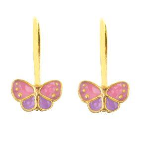 Παιδικό ζευγάρι σκουλαρίκια κρεμαστό από επιχρυσωμένο ασήμι 925 με πεταλούδες