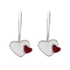 Παιδικό ζευγάρι σκουλαρίκια κρεμαστό από ασήμι 925 με διπλές καρδιές