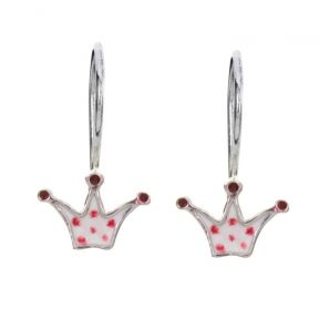 Παιδικό ζευγάρι σκουλαρίκια κρεμαστό από ασήμι 925 με κορώνες