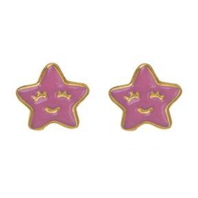 Παιδικό ζευγάρι σκουλαρίκια καρφωτό από επιχρυσωμένο ασήμι 925 με αστεράκια