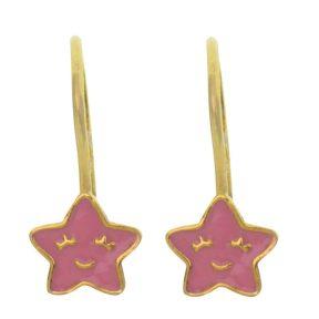 Παιδικό ζευγάρι σκουλαρίκια κρεμαστό από επιχρυσωμένο ασήμι 925 με αστεράκια