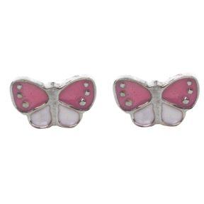 Παιδικό ζευγάρι σκουλαρίκια καρφωτό από ασήμι 925 με πεταλούδες