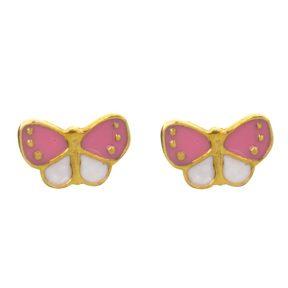 Παιδικό ζευγάρι σκουλαρίκια καρφωτό από επιχρυσωμένο ασήμι 925 με πεταλούδες