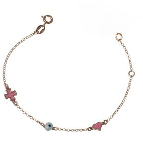 Παιδικό βραχιόλι από ρόζ επιχρυσωμένο ασήμι με σταυρό καρδιά και ματάκι