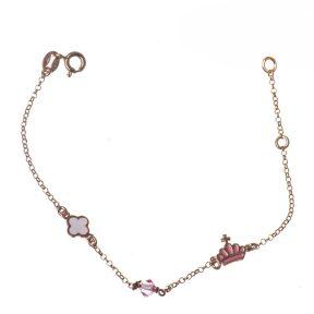 Παιδικό βραχιόλι από ρόζ επιχρυσωμένο ασήμι με σταυρό και κορώνα