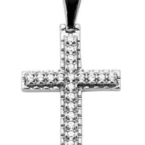 Σταυρός 14Κ από Λευκόχρυσο με Ζιργκόν SIO51412