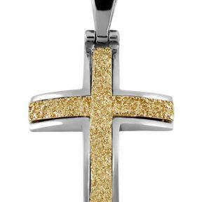 Σταυρός 14Κ από Λευκόχρυσο και Χρυσό SIO51911