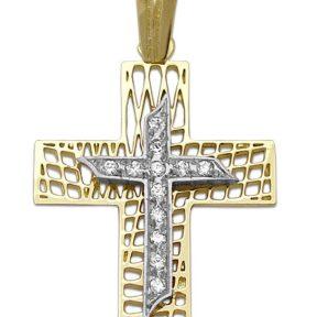 Σταυρός 14Κ από Χρυσό & Λευκόχρυσο με Ζιργκόν SIO55212