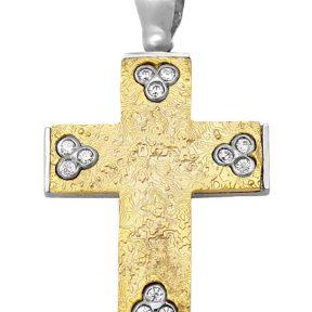 Σταυρός 14Κ από Χρυσό & Λευκόχρυσο με Ζιργκόν SIO55912
