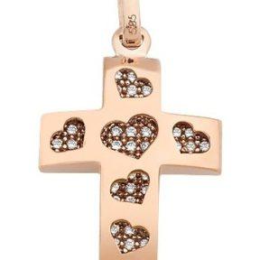 Σταυρός από Χρυσό 14Κ με πέτρες και καρδιές SIO11576