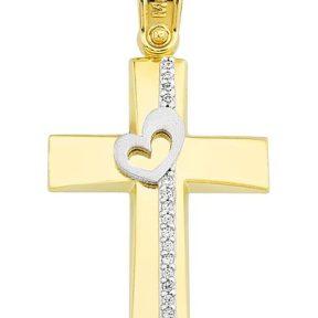 Σταυρός από Χρυσό 14Κ με πέτρες και καρδιά SIO11706