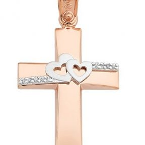 Σταυρός από Χρυσό 14Κ με πέτρες και καρδιές SIO11726