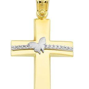 Σταυρός από Χρυσό 14Κ με πέτρες και πεταλούδα SIO11796