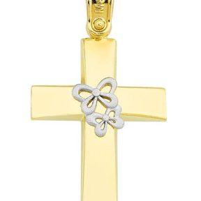 Σταυρός από Χρυσό 14Κμε πεταλουδες SIO11816