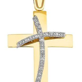 Σταυρός από Χρυσό 14Κ με πέτρες SIO12225