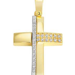 Σταυρός από Χρυσό 14Κ με πέτρες SIO12354