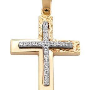 Σταυρός από Χρυσό 14Κ με πέτρες SIO12773